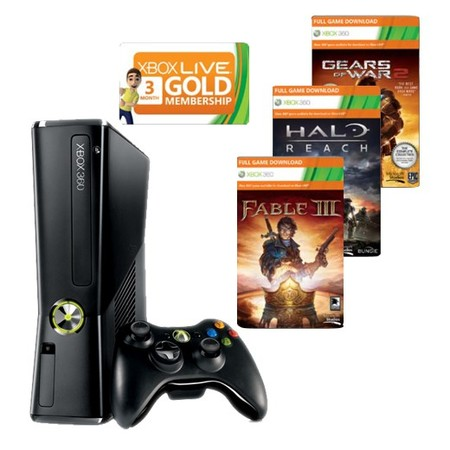 Microsoft Xbox 360 250GB + GoW 2 + Halo Reach + Fable 3 + 3M Live